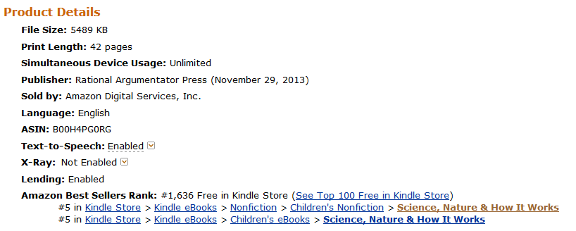Death is Wrong - Kindle Ranking on April 19, 2014