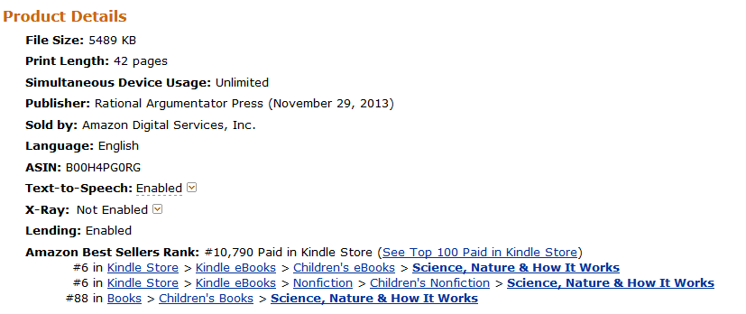 Amazon Kindle Store Ranking on March 16, 2014