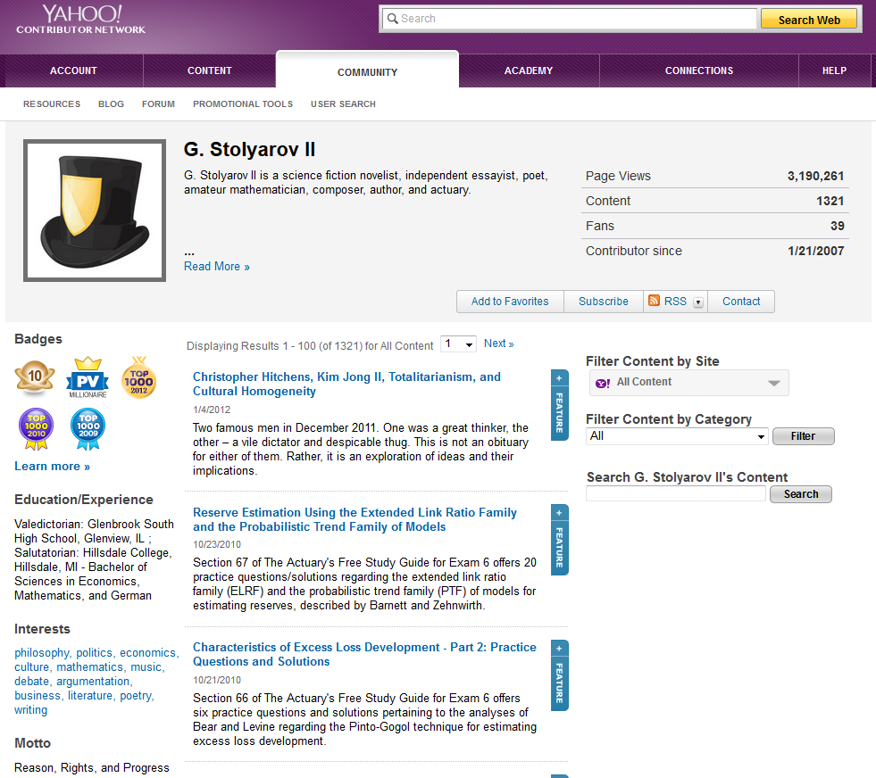 Screenshot of Mr. Stolyarov's profile page on Yahoo! Voices - July 31, 2014